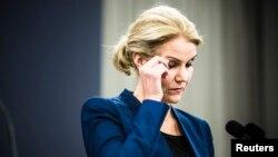 PM Denmark Helle Thorning-Schmidt memberikan keterangan pers di Kopenhagen (15/2).