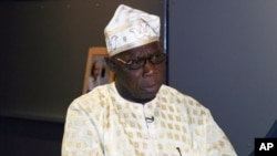 Former Nigerian President Olusegun Obasanjo at a recent interview in Washington, D.C.