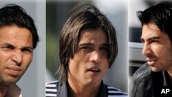 In this combination picture, Pakistan cricketers Salman Butt (R), Mohammad Asif (L) and Mohamed Aamer (C) are seen upon their arrival at the Qatar Financial Center to attend the final hearing of an anti-corruption tribunal with the International Cricket C