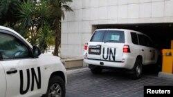 Silah denetçilerini göreve götüren BM konvoyu
