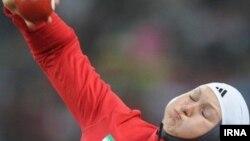 لیلا رجبی از اعضای تیم دو و میدانی بانوان ایران در بازی های آسیایی ۲۰۱۴ اینچئون کره جنوبی