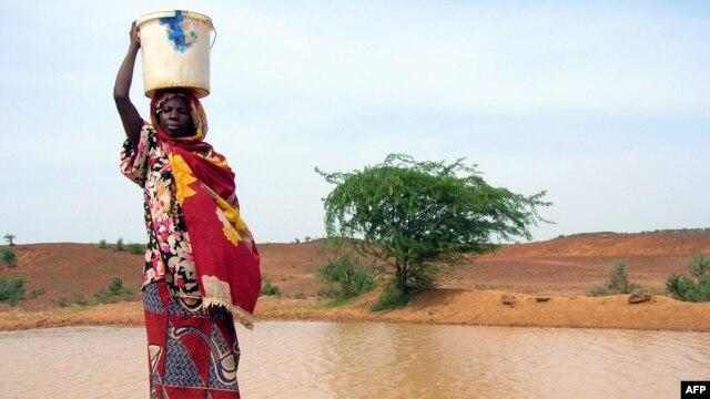 Une femme se ravitaillant dans une mare infectée par le choléra en Afrique de l'Ouest
