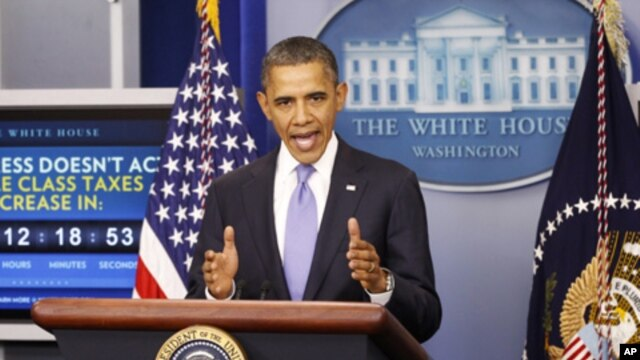 US President Barack Obama speaks on the extension of the payroll tax cut and of the Republican obstruction of Richard Cordray's nomination to head the Consumer Financial Protection Bureau (CFPB) in the briefing room of the White House in Washington, Decem