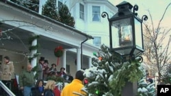 "Each year, on the first Sunday of December, the Stockbridge Chamber of Commerce mobilizes the entire community to recreate the scene from ""Stockbridge Main Street at Christmas,"" by painter Norman Rockwell"