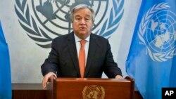 FILE - U.N. Secretary-General Antonio Guterres speaks at the U.N. headquarters, Oct. 5, 2018.