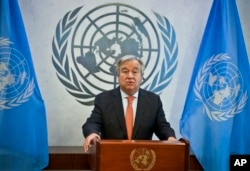 FILE - U.N. Secretary-General Antonio Guterres speaks at the U.N. headquarters.
