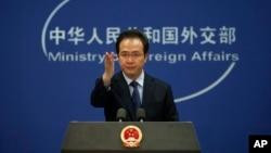 """Phát ngôn viên Hồng Lỗi của Trung Quốc khẳng định chủ quyền """"không thể tranh cãi"""" đối với quần đảo Hoàng Sa, và nói rằng cuộc tập trận thường niên diễn ra trên lãnh thổ của Trung Quốc."""