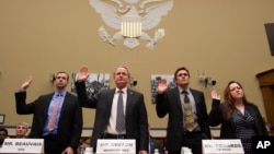 Witnesses, from left, Joel Beauvais, acting deputy assistant administrator, Office of Water, EPA; Keith Creagh, director, Department of Environmental Quality, State of Michigan; Marc Edwards, Virginia Tech professor, Environmental and Water Resources Engineering; and Flint, Michigan, resident LeeAnne Walters, are sworn in on Capitol Hill in Washington, Feb. 3, 2016, prior to testifying before the House Oversight and Government Reform Committee hearing to examine the ongoing situation in Flint, Michigan.