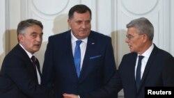 Šefik Džaferović, Milorad Dodik i Željko Komšić na inauguraciji za članove Predsjedništva BiH, Sarajevo, 20. novembar 2018.