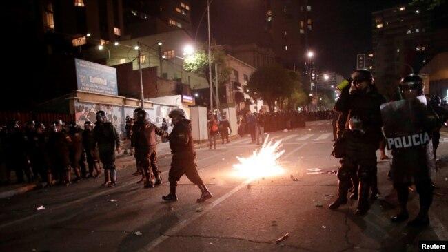 Las protestas del 21de octubre en La Paz comenzaron cuando el Tribunal Electoral anunció la victoria de Evo Morales en las elecciones presidenciales del domingo.