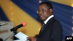 L'ancien ministre de la Justice Maurice Kamto donne un discours à Calabar, au sud du Nigeria, le 14 août 2008.