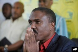 FILE - Presidential candidate Jude Celestin gives a news conference, Nov. 6, 2015, in Port-au-Prince, Haiti.