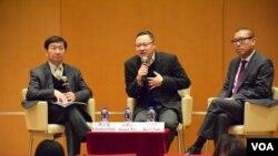 香港大學法律學院舉辦題為「對話香港法治的未來」講座。(美國之音湯惠芸攝)