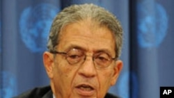 Arab League Secretary General Amr Moussa speaks at a press conference during the United Nations General Assembly at UN headquarters in New York (File Photo)