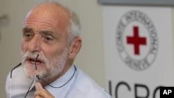 紅十字國際委員會主席克倫貝格爾9月6號在瑞士總部的一次記者會上講述訪問敘利亞的情況