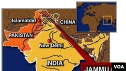 Peta wilayah perbatasan Kashmir yang dipertikaikan (foto: dok).
