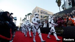 "Storm Troopers march in at the world premiere of the film ""Star Wars: The Force Awakens"" in Hollywood."