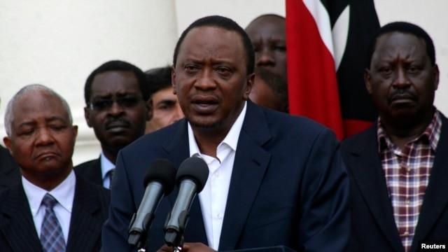 Kenya's President Uhuru Kenyatta addresses the nation on the Westgate shopping mall attack in the capital Nairobi, Sept. 22, 2013.