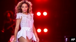 Beyonce performs on stage during her Mrs. Carter Show World Tour 2013, at the Julius Thomsens Plads in Copenhagen, Denmark, May 27, 2013.