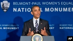 President Barack Obama speaks at the newly designated Belmont-Paul Women's Equality National Monument, formerly known as the Sewall-Belmont House and Museum, on National Equal Pay Day, in Washington, April 12, 2016.