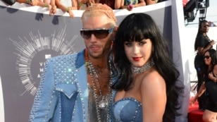 Riff Raff and Katy Perry arrive at the MTV Video Music Awards at The Forum on Sunday, Aug. 24, 2014, in Inglewood, Calif. (Photo by Jordan Strauss/Invision/AP)