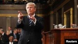 El presidente de EE.UU., Donald Trump, pronunció su primer discurso ante el Congreso el martes, 28 de febrero, de 2017.