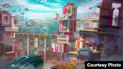 Tác phẩm Thành phố Tương lai - Future City của họa sĩ Anh Lê. Photo by Anh Lê
