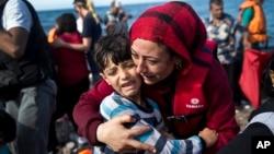 Sirijske izbeglice na grčkom ostrvu Lezbos