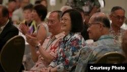 台灣總統蔡英文當地時間2017年10月28日在夏威夷出席僑界午宴。(台灣總統府提供)