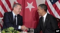 رجب طیب اردوغان، نخست وزیر ترکیه در دیدار با باراک اوباما، رییس جمهوری آمریکا