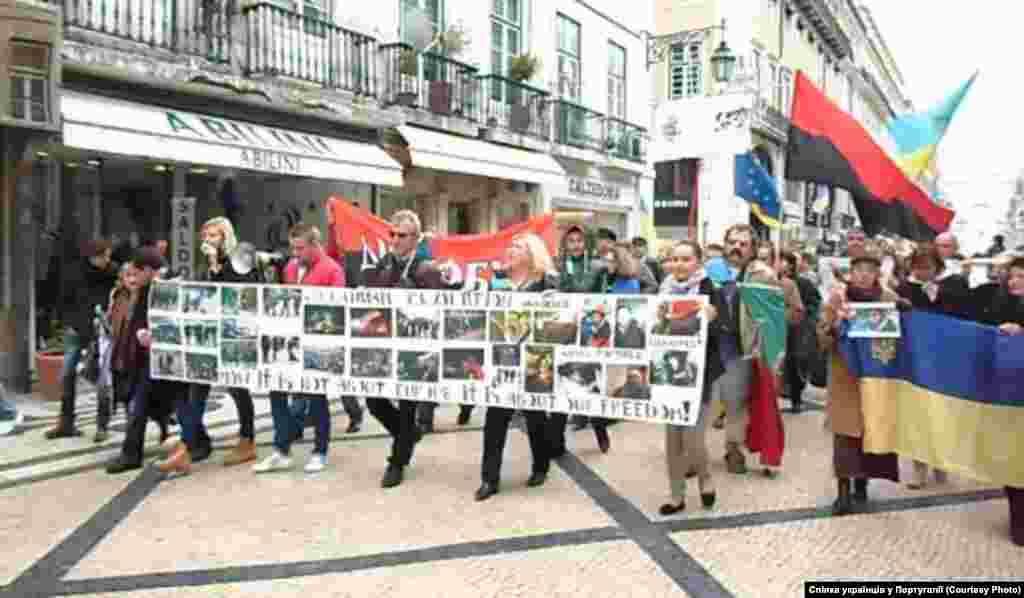 Лісабон. Площа Комерціо Завершився мітинг ходою від Комерційної площі до площі Росіо (найбільш туристична зона).