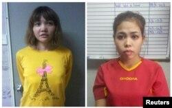 김정은 북한 국무위원장의 이복형 김정남 살해 혐의로 기소된 베트남 여성 도안 티 흐엉 씨(왼쪽)와 인도네시아 여성 시티 아이샤 씨.