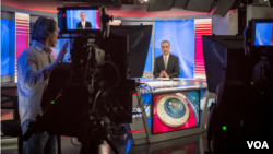 VOA's Shahram Bahraminejad on the set for VOA Persian