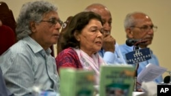 Pakistani human rights activist Nasreen Azhar, second left, addresses the audience at a launching ceremony for the report, 'State of Human Rights in 2018,' in Islamabad, April 15, 2019.