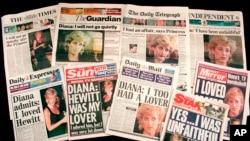 Tư liệu- Những hàng tít lớn trên báo chí Anh phản ứng trước cuộc phỏng vấn Công nương Diana do phóng viên BBC Martin Bashir thực hiện năm 1995. (AP Photo/Martin Cleaver, File)