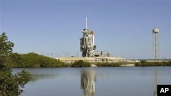 Space shuttle Endeavour is seen at Pad 39A at the Kennedy Space Center in Cape Canaveral, Fla., April 30, 2011