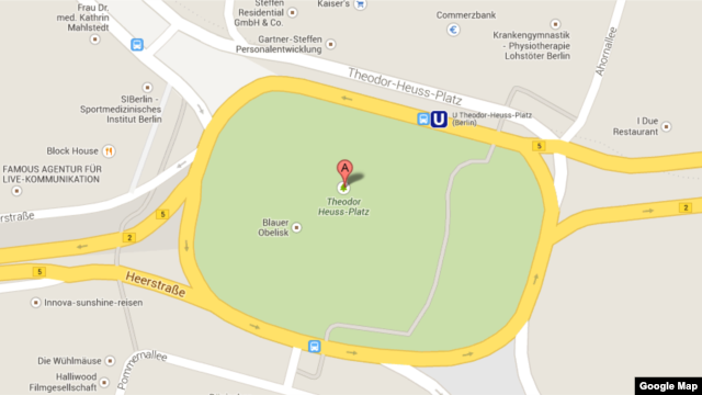 Theodor Heuss Platz in Berlin, Germany is seen on a corrected Google Maps screenshot.