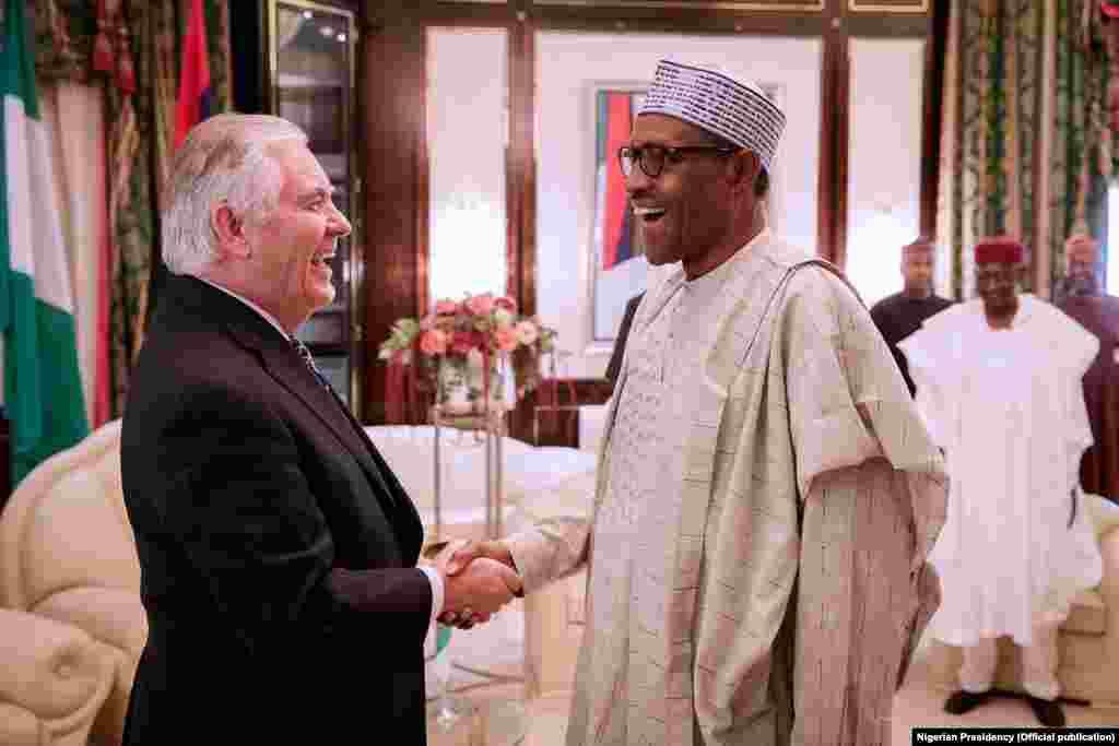 Sakataren Harkokin Wajen Amurka, Rex Tillerson tare da Shugaba Muhammadu Buhari