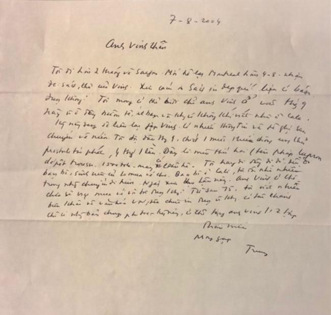 Thư tay Nguyễn Văn Trung gửi Ngô Thế Vinh viết ngày 7/ 8/ 2004. [tư liệu Ngô Thế Vinh]
