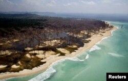 Pemandangan dari udara pesisir pantai Indira point, titik paling selatan India, 600 km sebelah selatan Port Blair di kepulauan Andaman dan Nicober, setelah diterjang tsunami yang melanda Asia Tenggara, 1 Maret 2005.
