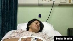 خانم ممبینی در پی درگذشت همسرش مدتی در بیمارستان بستری بود.
