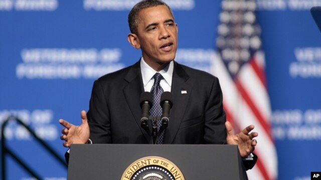 President Barack Obama addresses convention of Veterans of Foreign Wars in Reno, Nev. July 23, 2012.