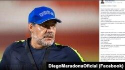 Capa de Facebook de Diego Maradona com mensagem de apoio a Nicolás Maduro