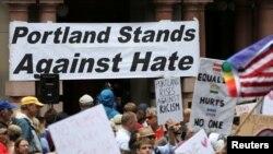 ریاست اوریگان کے شہر پورٹ لینڈ میں نفرت پر مبنی تشدد کے خلاف ریلی۔ 4 جون 2017