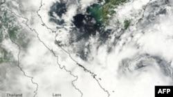 Hình của NASA cho thấy bão số 3 thổi ngoài khơi biển Ðông