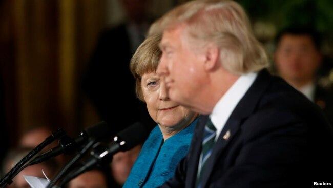 Thủ tướng Đức và Tổng thống Mỹ trong cuộc họp báo chung hôm 17/3.