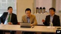 中美貿易關係研究-左起紐約大學中美關係中心主任大衛德倫,北京大學中國經濟研究中心主任姚洋,紐約大學東亞研究所所長張旭東