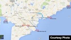 Dự án Hồ Tràm Strip cùng các vị trí xung yếu khác ở Nam Bộ mà Trung Quốc đã hoặc đang tìm cách kiểm soát. Ảnh: Lê Anh Hùng
