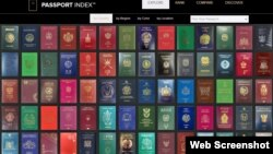 '아톤캐피털(Arton Capital)'이 매년 발표하는 각국 여권지수(Passport Index) 웹사이트.