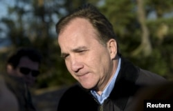 Swedish PM Stefan Lofven visits Klobben island during a meeting of the Nordic prime ministers in Saltvik, Finland, Sept. 27, 2016.